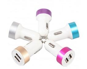 USB адаптер в прикуриватель белый с цветным обрамлением
