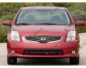 Светодиодные противотуманные фары с ангельскими глазками для Nissan Sentra B16 (2009-2012)