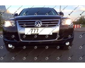 Светодиодные противотуманные фары с ангельскими глазками для Volkswagen Touareg 1 рестайлинг (2007-2010)