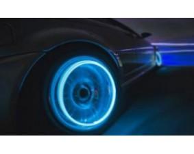 Синие светящиеся колпачки на ниппель 4 шт.