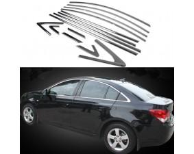 Хромированные молдинги окон Chevrolet Cruze 1 2009-2015 седан (14 молдингов)