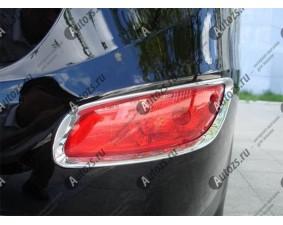 Хромированные накладки на задние ПТФ Hyundai Santa Fe 2 2010-2012