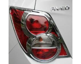 Хромированные накладки на задние фонари Chevrolet Aveo T300 2012+ седан