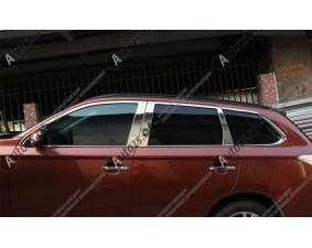 Хромированные молдинги окон Mitsubishi Outlander 3 2012+ (14 молдингов) B
