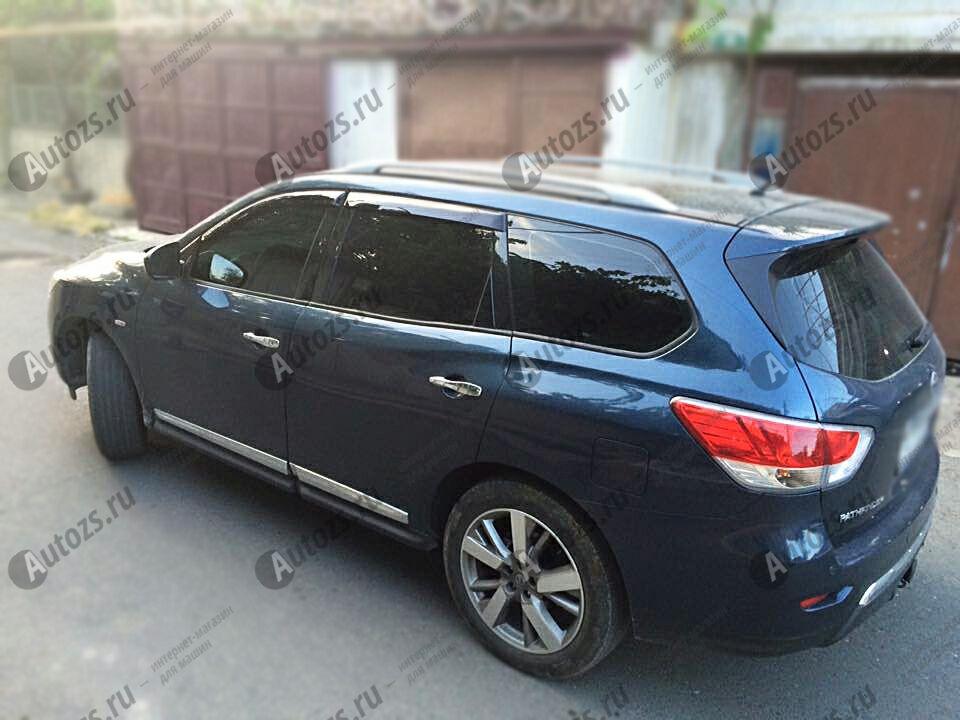 Дефлекторы боковых окон Nissan Pathfinder IV (2012+)Дефлекторы боковых окон<br>Дефлекторы боковых окон индивидуальны для каждого автомобиля. Продукция изготовлена с помощью точного компьютерного оборудования и новейших технологий. Дефлекторы окон блокируют сильный ветер, бурный поток во...<br>