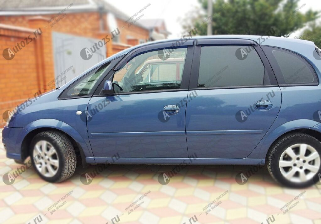 Дефлекторы боковых окон Opel Meriva A Рестайлинг (2006-2010)Дефлекторы боковых окон<br>Дефлекторы боковых окон индивидуальны для каждого автомобиля. Продукция изготовлена с помощью точного компьютерного оборудования и новейших технологий. Дефлекторы окон блокируют сильный ветер, бурный поток во...<br>