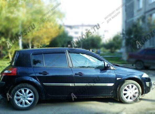 Дефлекторы боковых окон Renault Megane II Хэтчбек 5дв. (2002-2006)Дефлекторы боковых окон<br>Дефлекторы боковых окон индивидуальны для каждого автомобиля. Продукция изготовлена с помощью точного компьютерного оборудования и новейших технологий. Дефлекторы окон блокируют сильный ветер, бурный поток во...<br>