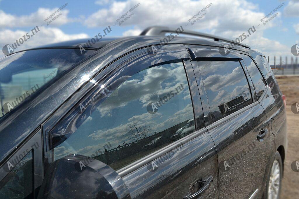 Дефлекторы боковых окон SsangYong Rodius I Рестайлинг (2007-2013)Дефлекторы боковых окон<br>Дефлекторы боковых окон индивидуальны для каждого автомобиля. Продукция изготовлена с помощью точного компьютерного оборудования и новейших технологий. Дефлекторы окон блокируют сильный ветер, бурный поток во...<br>