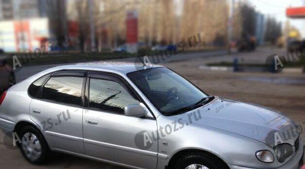 Дефлекторы боковых окон Toyota Corolla VIII (E110) Рестайлинг Хэтчбек 5дв. (1999-2002)Дефлекторы боковых окон<br>Дефлекторы боковых окон индивидуальны для каждого автомобиля. Продукция изготовлена с помощью точного компьютерного оборудования и новейших технологий. Дефлекторы окон блокируют сильный ветер, бурный поток во...<br>
