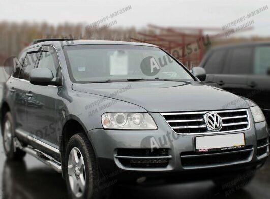 Дефлекторы боковых окон Volkswagen Touareg I (2002-2007)Дефлекторы боковых окон<br>Дефлекторы боковых окон индивидуальны для каждого автомобиля. Продукция изготовлена с помощью точного компьютерного оборудования и новейших технологий. Дефлекторы окон блокируют сильный ветер, бурный поток во...<br>