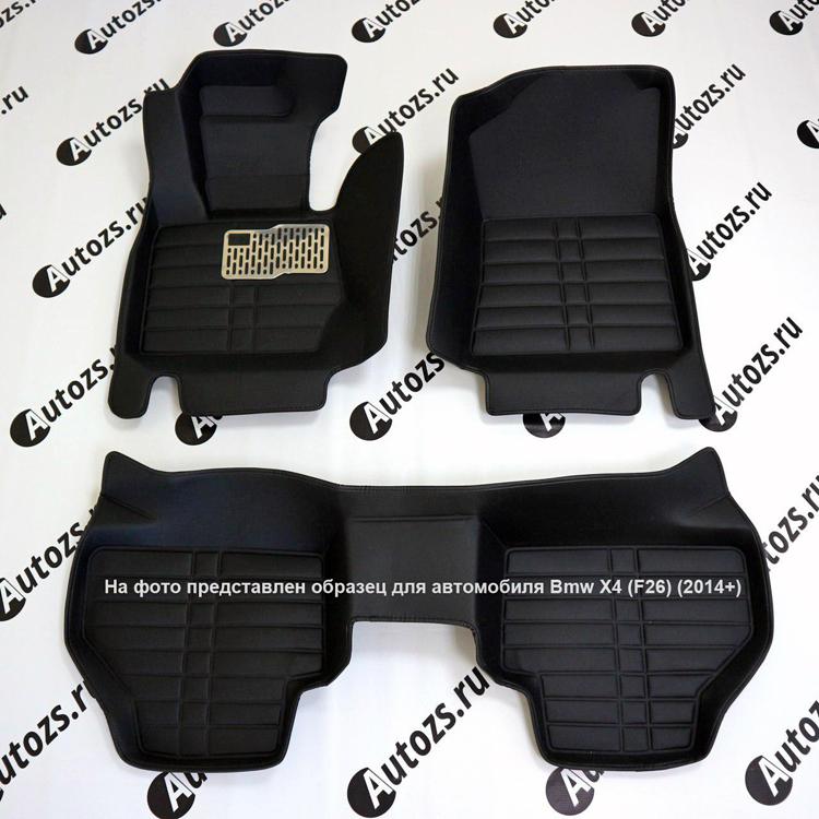 Кожаные коврики для Volkswagen Touareg II (2010-2014) (для 2-х зонных климат контролей)Автомобильные кожаные коврики<br>Черные...<br>