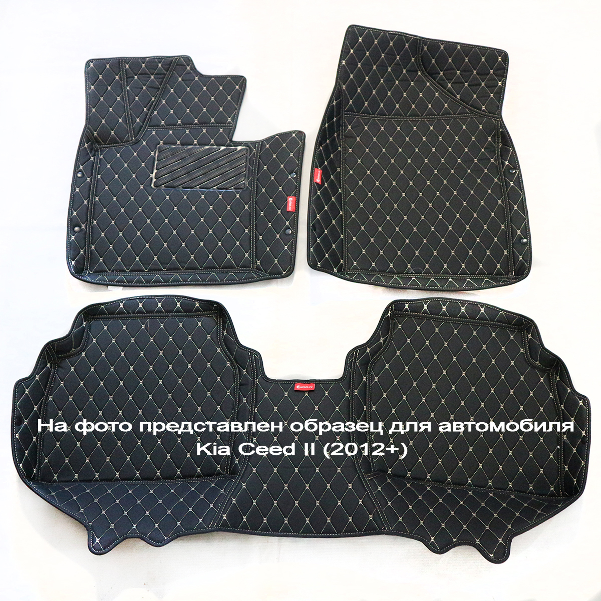 Кожаные коврики для Porsche Cayenne II (958) (2010-2014)Автомобильные кожаные коврики<br>Черные...<br>