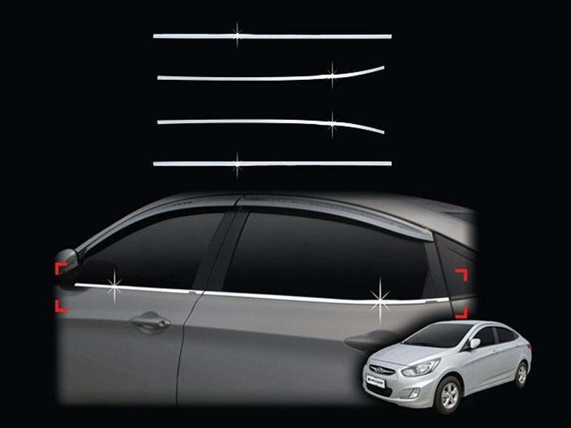 Молдинги окон Hyundai Solaris 1 2010+ (4 молдинга)Хромированные накладки Hyundai Solaris <br>Молдинги относятся к наиболее распространенным элементам внешнего автомобильного тюнинга. Аксессуары выполняются в виде небольших выпуклых планок для декорирования боковых окон автомобиля. Накладки на окна двер...<br>