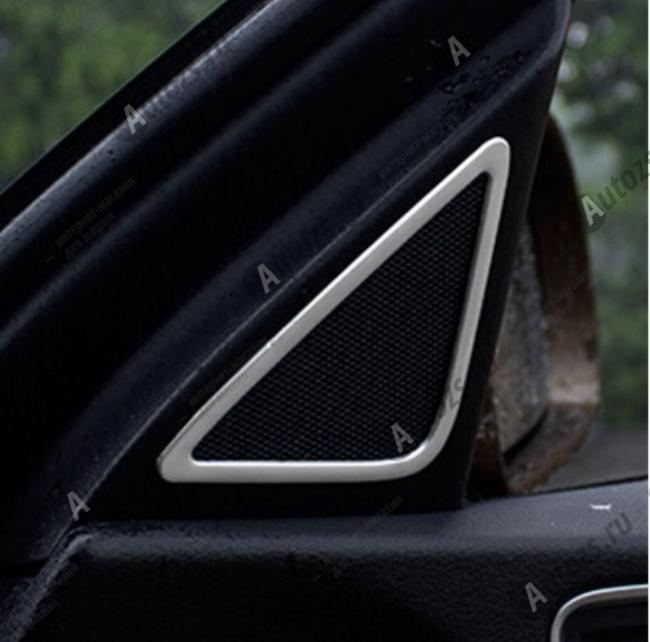 Декоративные накладки на дверные динамики Audi Q3 Typ 8U 2011-2015 AХромированные накладки Audi Q3<br>Декоратинвные молдинги используются для украшения панели приборов, салона и т.д.<br><br>Простая и легкая установка (все в комплекте):<br><br><br>Очистить поверхность, куда будут устанавливаться накладки.<br><br>Снять скочт с накла...<br>