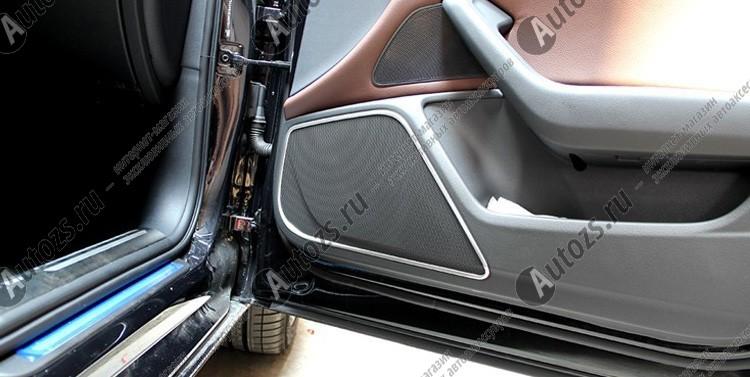 Декоративные накладки на дверные динамики Audi A6 C7 2011-2015Хромированные накладки Audi A6<br>Простая и легкая установка (все в комплекте):<br><br><br>Очистить поверхность, куда будут устанавливаться накладки.<br><br>Снять скочт с накладки и преклеить на поверхность....<br>
