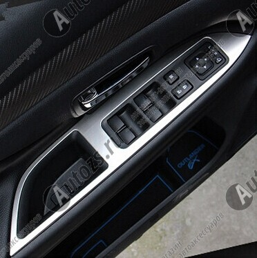 Купить со скидкой Декоративные накладки для панели стеклоподъемника Mitsubishi Outlander 3 2012+