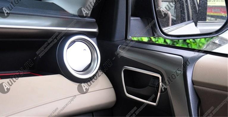 Декоративные накладки для боковых отверстий обдува салона Toyota Rav 4 CA40 2013+ AХромированные накладки Toyota RAV 4<br>Декоратинвные молдинги используются для украшения панели приборов, салона и т.д.<br><br><br>Простая и легкая установка (все в комплекте):<br><br><br>Очистить поверхность, куда будут устанавливаться накладки.<br><br>Снять скочт с накла...<br>