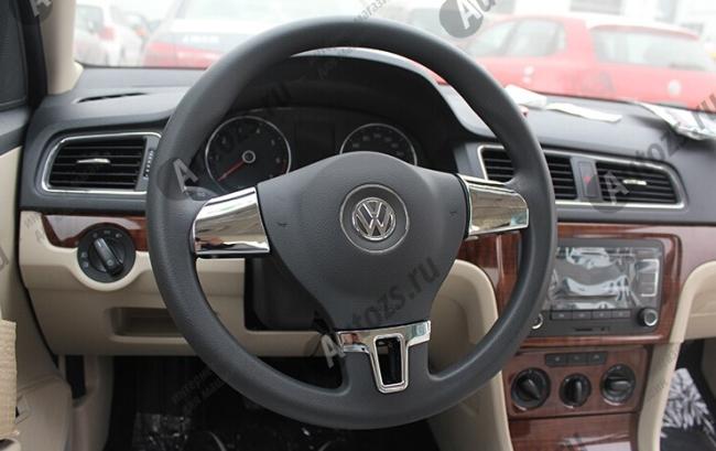 Декоративные накладки на рулевое колесо Volkswagen Tiguan 1 2011-2015Хромированные накладки Volkswagen Tiguan 1 2007-2016<br>Декоратинвные молдинги используются для украшения панели приборов, салона и т.д.<br><br><br>Простая и легкая установка (все в комплекте):<br><br><br>Очистить поверхность, куда будут устанавливаться накладки.<br><br>Снять скочт с накла...<br>