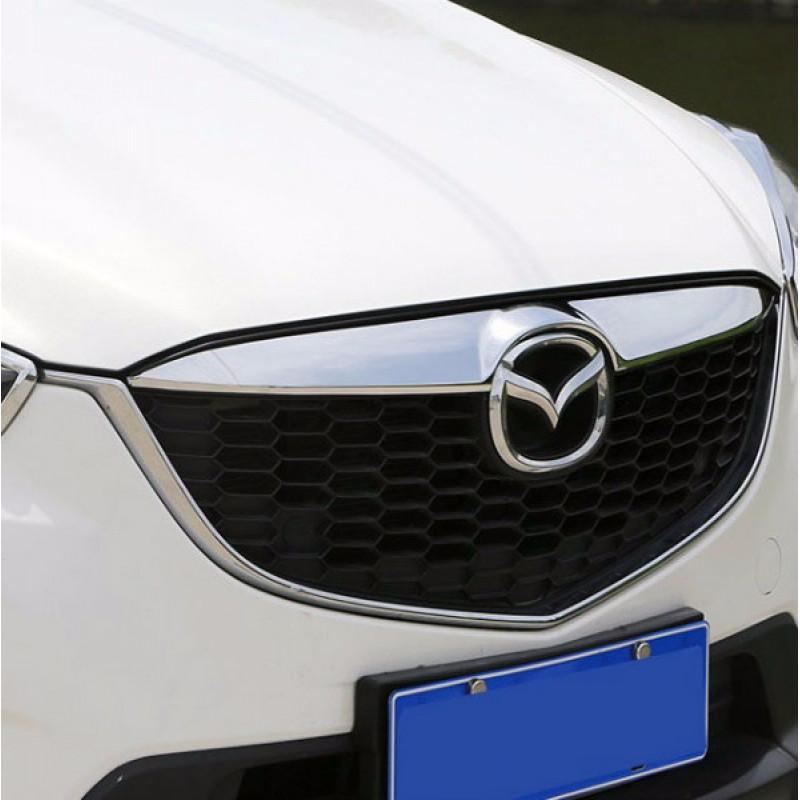 Хром накладка на решетку радиатора Mazda CX-5 1 2011+Хромированные накладки Mazda CX-5<br>Декоративные накладки разработаны специально для установки на решетку радиатора автомобиля Mazda CX-5.Они придают транспортному средству завершенный, уникальный образ и обеспечивают защиту установленной заводской р...<br>