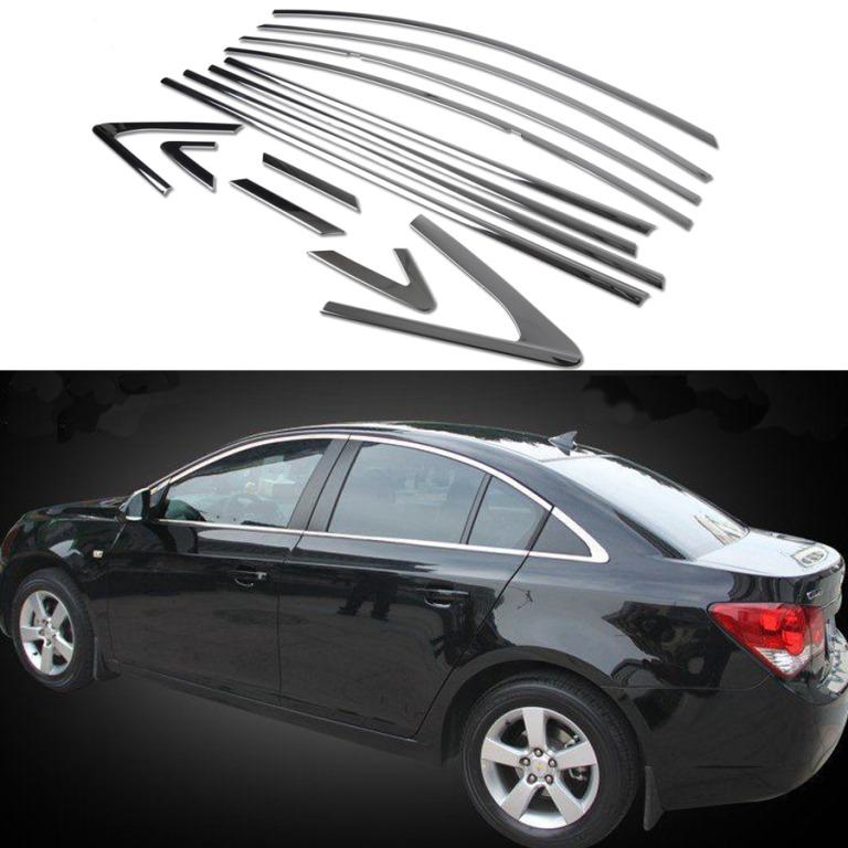 Молдинги окон Chevrolet Cruze 1 2009-2015 седан (14 молдингов)Хромированные накладки Chevrolet Cruze<br>Молдинги относятся к наиболее распространенным элементам внешнего автомобильного тюнинга. Аксессуары выполняются в виде небольших выпуклых планок для декорирования боковых окон автомобиля. Накладки на окна двер...<br>