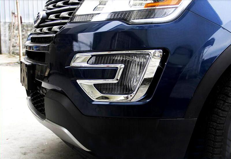 Накладки на передние ПТФ Ford Explorer 5 2015+Хром накладки на ПТФ<br>Накладки для ПТФ с нанесенным слоем хромового покрытия служат эффектной деталью внешней декоративной отделки автомобилей, в оформлении которых уже используются другие хромированные аксессуары. Кроме того, наклад...<br>