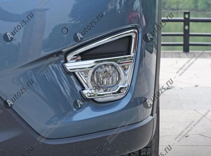 Накладки на передние ПТФ Mazda CX-5 1 2016+ AХромированные накладки Mazda CX-5<br>Подходит для Mazda CX-5 1 2016+:<br><br><br><br>Накладки для ПТФ с нанесенным слоем хромового покрытия служат эффектной деталью внешней декоративной отделки автомобилей, в оформлении которых уже используются другие хромированные а...<br>