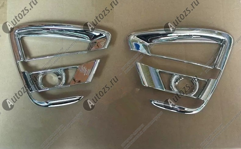Накладки на передние ПТФ Mazda CX-5 1 2016+ CХромированные накладки Mazda CX-5<br>Подходит для Mazda CX-5 1 2016+:<br><br><br><br>Накладки для ПТФ с нанесенным слоем хромового покрытия служат эффектной деталью внешней декоративной отделки автомобилей, в оформлении которых уже используются другие хромированные а...<br>