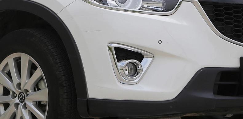 Накладки на передние ПТФ Mazda CX-5 2011-2015Хромированные накладки Mazda CX-5<br>Накладки для ПТФ с нанесенным слоем хромового покрытия служат эффектной деталью внешней декоративной отделки автомобилей, в оформлении которых уже используются другие хромированные аксессуары. Кроме того, наклад...<br>