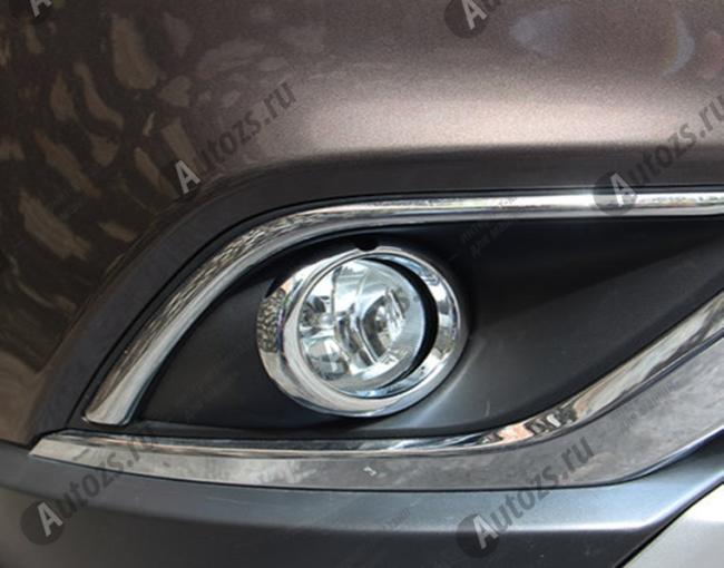 Накладки на передние и задние ПТФ Mitsubishi Outlander 3 рестайлинг 2015+Хром накладки на ПТФ<br>Накладки на фары с нанесенным слоем хромового покрытия служат эффектной деталью внешней декоративной отделки автомобилей, в оформлении которых уже используются другие хромированные аксессуары. Кроме того, наклад...<br>