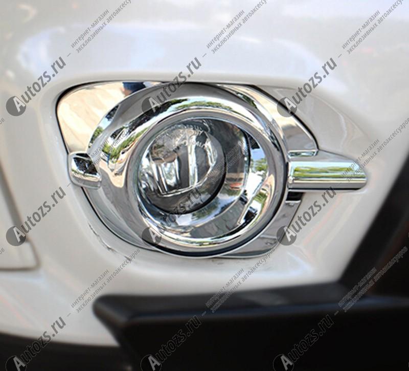 Накладки на передние ПТФ Mitsubishi Pajero Sport 2 2013-2015Хромированные накладки Mitsubishi Pajero Sport<br>Накладки для ПТФ с нанесенным слоем хромового покрытия служат эффектной деталью внешней декоративной отделки автомобилей, в оформлении которых уже используются другие хромированные аксессуары. Кроме того, наклад...<br>