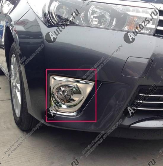 Накладки на передние ПТФ Toyota Corolla E160 2013+Накладки на Toyota Corolla 2013+<br>Накладки для ПТФ с нанесенным слоем хромового покрытия служат эффектной деталью внешней декоративной отделки автомобилей, в оформлении которых уже используются другие хромированные аксессуары. Кроме того, наклад...<br>