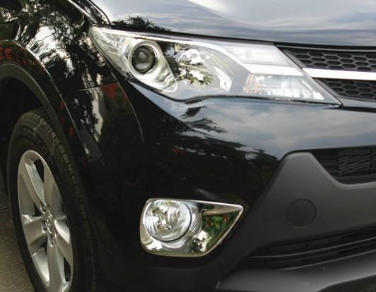 Накладки на передние ПТФ Toyota Rav 4 CA40 2013-2015Хромированные накладки Toyota RAV 4<br>Накладки для ПТФ с нанесенным слоем хромового покрытия служат эффектной деталью внешней декоративной отделки автомобилей, в оформлении которых уже используются другие хромированные аксессуары. Кроме того, наклад...<br>