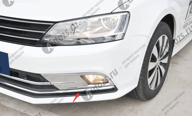 Накладки на передние ПТФ Volkswagen Jetta 6 рестайлинг 2015+Хром накладки на ПТФ<br>Накладки для ПТФ с нанесенным слоем хромового покрытия служат эффектной деталью внешней декоративной отделки автомобилей, в оформлении которых уже используются другие хромированные аксессуары. Кроме того, наклад...<br>