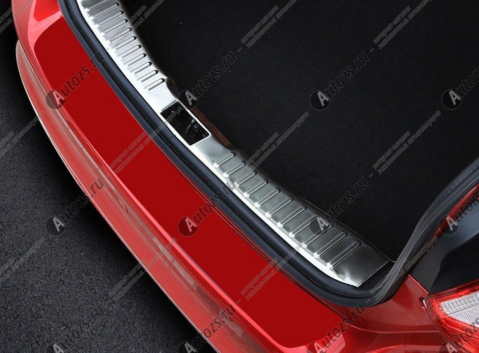 Накладка на задний борт багажника Ford Focus 3 2011-2018 хэтчбекХромированные накладки Ford Focus III<br>Накладка на багажник предназначена для защиты поверхности заднего борта багажного отсека и служит стильным элементом внешнего тюнинга. Аксессуар эффективно предотвращает возникновение царапин и других поврежден...<br>