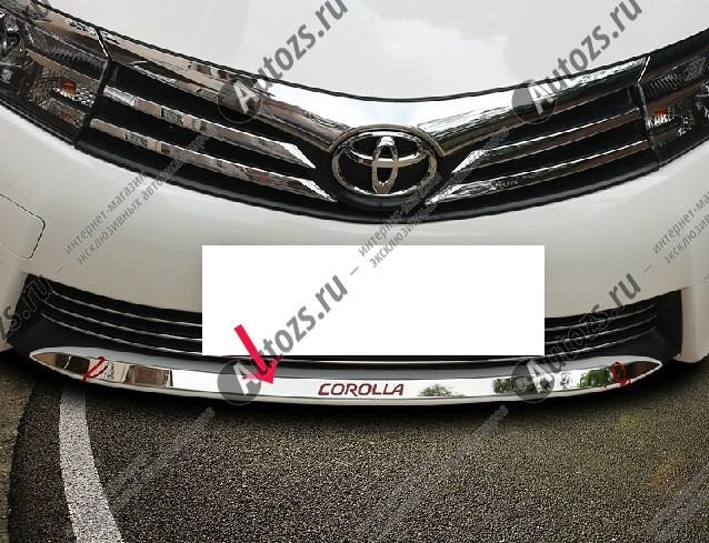 Накладка на юбку переднего бампера Toyota Corolla E160 2013+ AНакладки на Toyota Corolla 2013+<br>Молдинги (накладки) относятся к наиболее распространенным элементам внешнего автомобильного тюнинга. Аксессуары выполняются в виде небольших выпуклых планок для декорирования боковых окон автомобиля. Накладки на...<br>