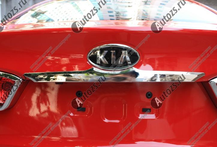 Хромированная накладка на дверь багажника KIA Rio 3 2011+Хромированные накладки Kia Rio<br>Молдинги относятся к наиболее распространенным элементам внешнего автомобильного тюнинга. Накладки на двери служат для маскировки различных дефектов, зонирования автомобиля и защиты поверхностей от царапин, скол...<br>