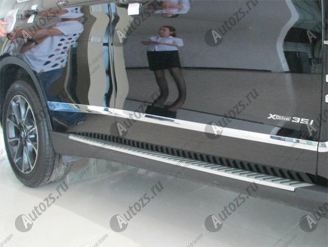 Хромированные накладки на двери BMW X5 F15 2013+Хромированные накладки BMW X5<br>Молдинги относятся к наиболее распространенным элементам внешнего автомобильного тюнинга. Аксессуары выполняются в виде небольших выпуклых планок для декорирования автомобиля. Накладки на двери также служат для...<br>