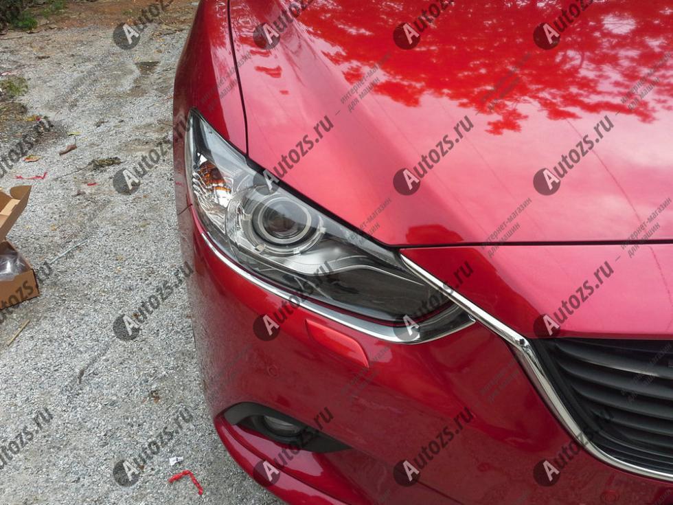 Хромированные накладки на фары Mazda 6 GJ 2012-2015 ресничкиХромированные накладки Mazda 6<br>Установка накладок на фары является популярным среди автолюбителей способом внешнего тюнинга автомобилей. Стильные и надежные аксессуары не только служат оригинальными декоративными элементами дизайна, но и выпо...<br>