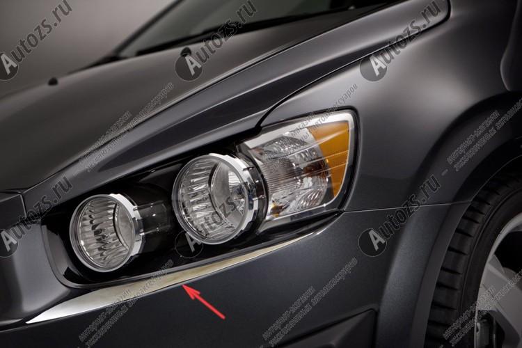 Купить со скидкой Хромированные накладки под фары Chevrolet Aveo T300 2012+