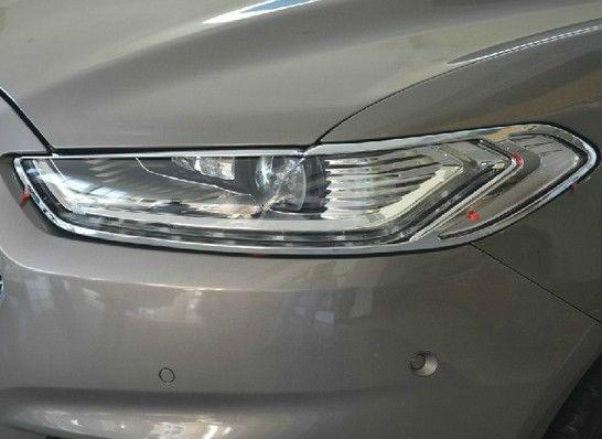Хромированные накладки на фары Ford Mondeo 5 2014+Хром накладки для фар<br>Установка накладок на фары является популярным среди автолюбителей способом внешнего тюнинга автомобилей. Стильные и надежные аксессуары не только служат оригинальными декоративными элементами дизайна, но и выпо...<br>
