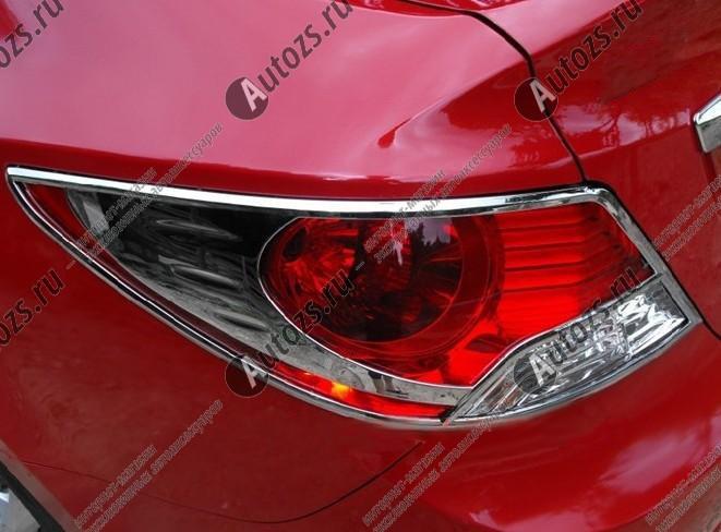 Хромированные накладки на задние фонари Hyundai Solaris 1 2010+ BХром накладки для фонарей<br>Установка накладок на фонари является популярным среди автолюбителей способом внешнего тюнинга автомобилей. Стильные и надежные аксессуары не только служат оригинальными декоративными элементами дизайна, но и вы...<br>
