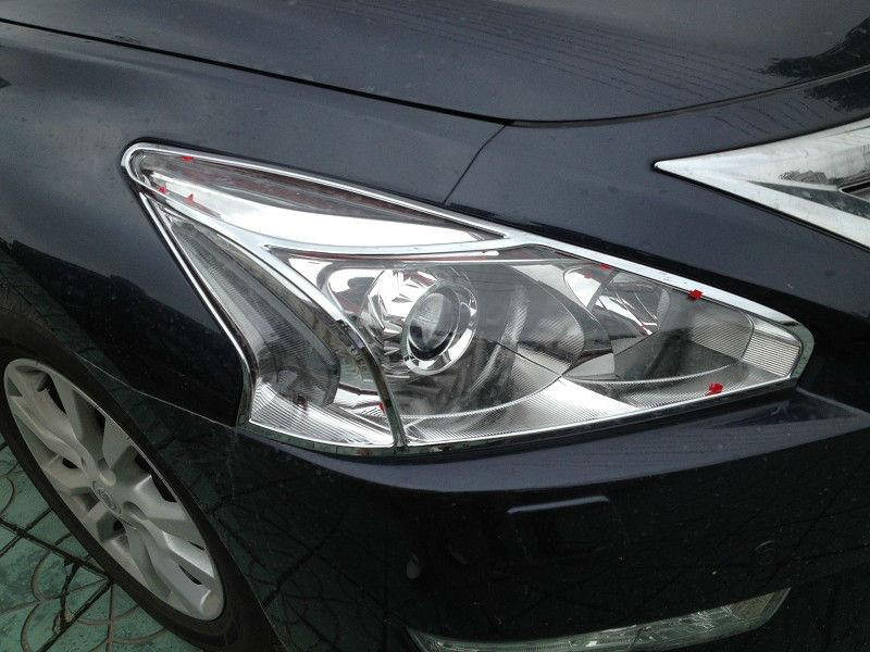 Хромированные накладки на фары Nissan Teana L33 2014+Хромированные накладки Nissan Teana<br>Установка накладок на фары является популярным среди автолюбителей способом внешнего тюнинга автомобилей. Стильные и надежные аксессуары не только служат оригинальными декоративными элементами дизайна, но и выпо...<br>