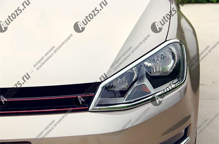 Хромированные накладки на фары Volkswagen Golf 7 2013+Хромированные накладки Volkswagen Golf<br>Установка накладок на фары является популярным среди автолюбителей способом внешнего тюнинга автомобилей. Стильные и надежные аксессуары не только служат оригинальными декоративными элементами дизайна, но и выпо...<br>