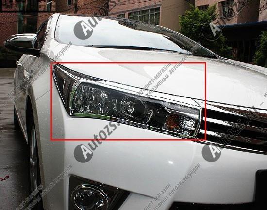 Хромированные накладки на фары Toyota Corolla E160 2013+Накладки на Toyota Corolla 2013+<br>Установка накладок на фары является популярным среди автолюбителей способом внешнего тюнинга автомобилей. Стильные и надежные аксессуары не только служат оригинальными декоративными элементами дизайна, но и выпо...<br>