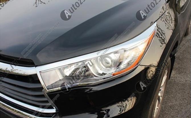 Хромированные накладки на фары Toyota Highlander 3 2014-2016Накладки на Toyota Highlander 3 2014+<br>Установка накладок на фары является популярным среди автолюбителей способом внешнего тюнинга автомобилей. Стильные и надежные аксессуары не только служат оригинальными декоративными элементами дизайна, но и выпо...<br>