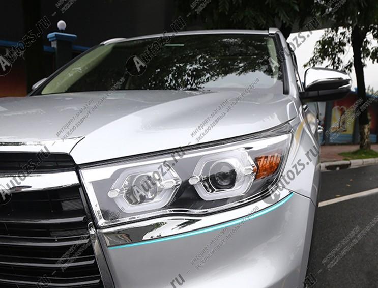 Хромированные накладки под фары Toyota Highlander 3 2014+Накладки на Toyota Highlander 3 2014+<br>Установка накладок на фары является популярным среди автолюбителей способом внешнего тюнинга автомобилей. Стильные и надежные аксессуары не только служат оригинальными декоративными элементами дизайна, но и выпо...<br>