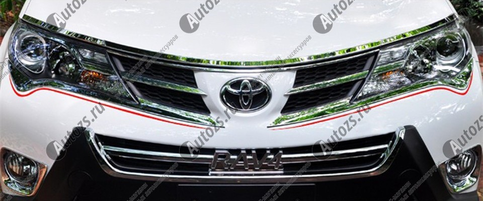 Хромированные накладки под фары Toyota Rav 4 CA40 2013-2015 AХромированные накладки Toyota RAV 4<br>Установка накладок на фары является популярным среди автолюбителей способом внешнего тюнинга автомобилей. Стильные и надежные аксессуары не только служат оригинальными декоративными элементами дизайна, но и выпо...<br>