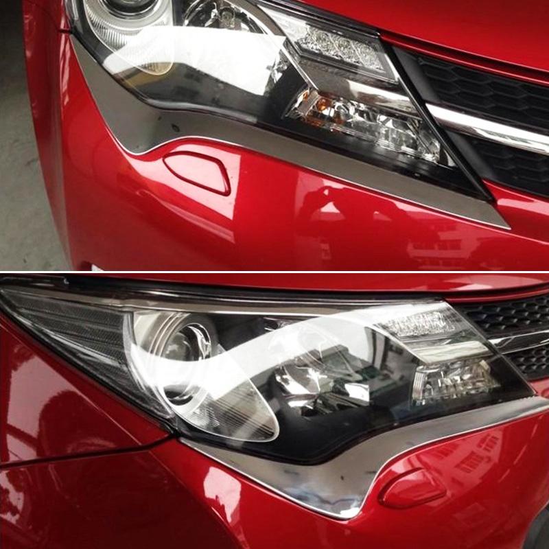 Хромированные накладки под фары Toyota Rav 4 CA40 2013-2015 BХромированные накладки Toyota RAV 4<br>Установка накладок на фары является популярным среди автолюбителей способом внешнего тюнинга автомобилей. Стильные и надежные аксессуары не только служат оригинальными декоративными элементами дизайна, но и выпо...<br>