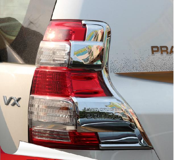 Хромированные накладки на задние фонари Toyota Land Cruiser Prado 150 2013+ CХром накладки для фонарей<br>Установка накладок на фонари является популярным среди автолюбителей способом внешнего тюнинга автомобилей. Стильные и надежные аксессуары не только служат оригинальными декоративными элементами дизайна, но и вы...<br>