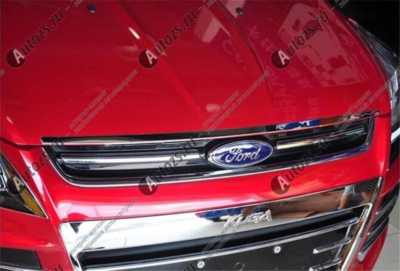Накладка на кромку капота Ford Kuga 2 2013+Хромированные накладки Ford Kuga<br>Молдинги относятся к наиболее распространенным элементам внешнего автомобильного тюнинга. Накладки на капот служат для маскировки различных дефектов, зонирования автомобиля и защиты поверхностей от царапин, скол...<br>